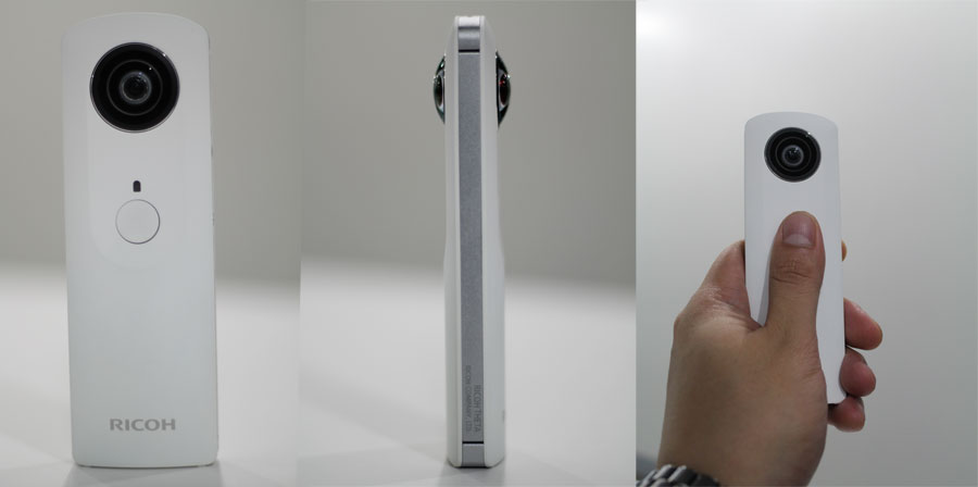 Ricoh Theta front view, side view, and in hand