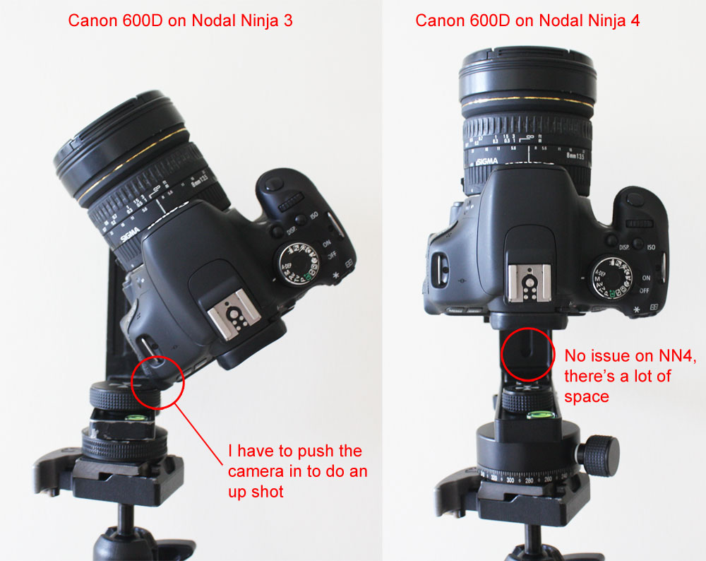 Nodal Ninja 3 and Nodal Ninja 4 with Canon 600d zenith shot position comparison